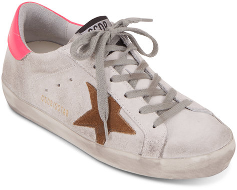 Golden Goose Superstar White Suede & Hot Pink Star Sneaker