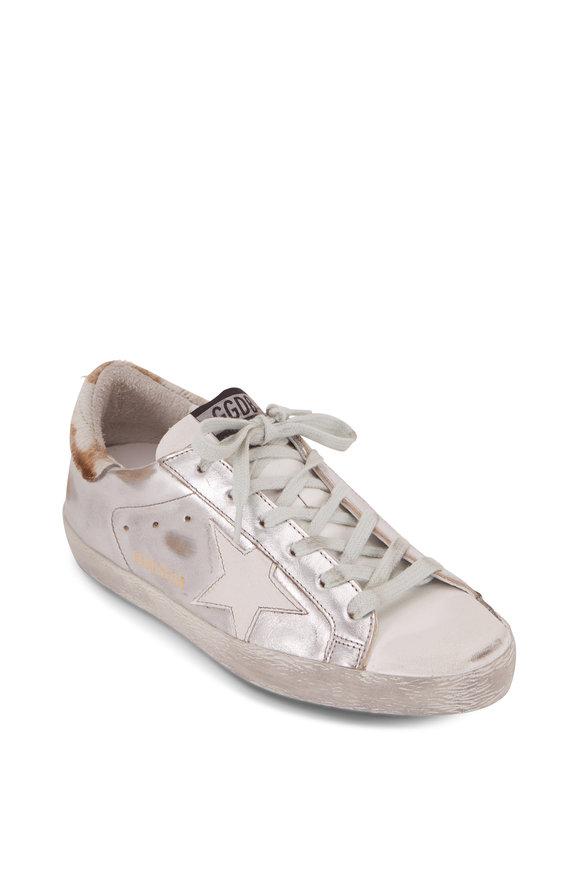 Golden Goose Superstar Silver Leather Pony Hair Heel Sneaker
