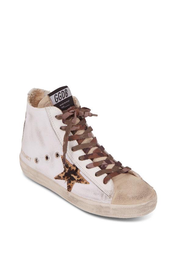 Golden Goose Francy White Canvas Leopard Star High Top Sneaker