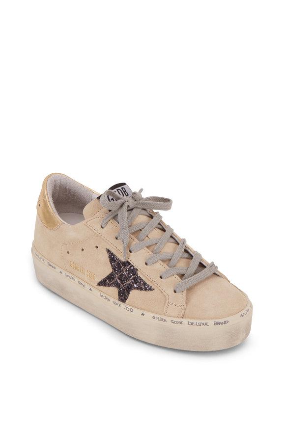 Golden Goose Hi Star Pearl Suede Black Glitter Platform Sneaker