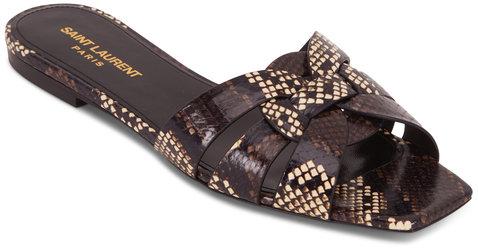 Saint Laurent Nu Pieds Tribute Brown Snakeskin Flat Sandal
