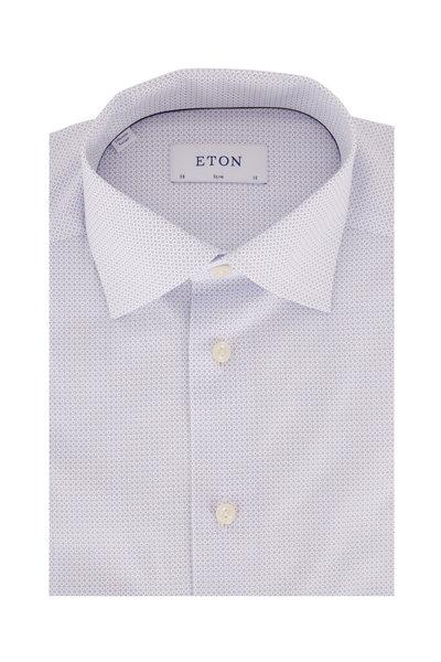 Eton - Light Blue Geometric Slim Fit Dress Shirt
