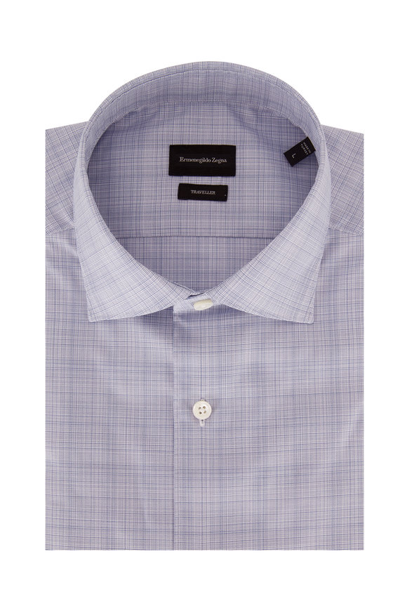 Ermenegildo Zegna Traveller Blue Patterned Classic Fit Sport Shirt