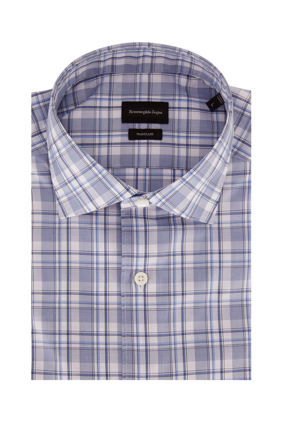 Ermenegildo Zegna Light Blue Plaid Classic Fit Sport Shirt