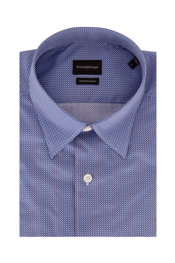 Ermenegildo Zegna Navy Blue Geometric Classic Fit Sport Shirt