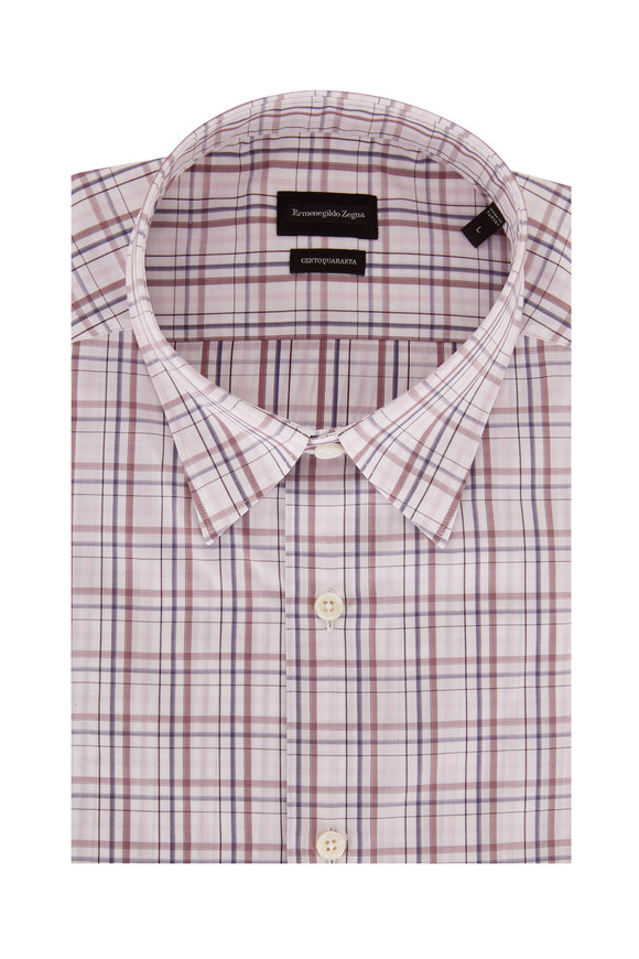 Ermenegildo Zegna Light Pink Plaid Classic Fit Sport Shirt