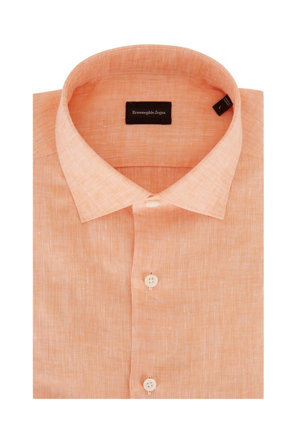 Ermenegildo Zegna Solid Orange Linen Classic Fit Sport Shirt