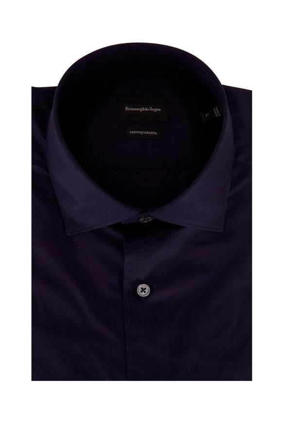 Ermenegildo Zegna Solid Navy Blue Classic Fit Sport Shirt