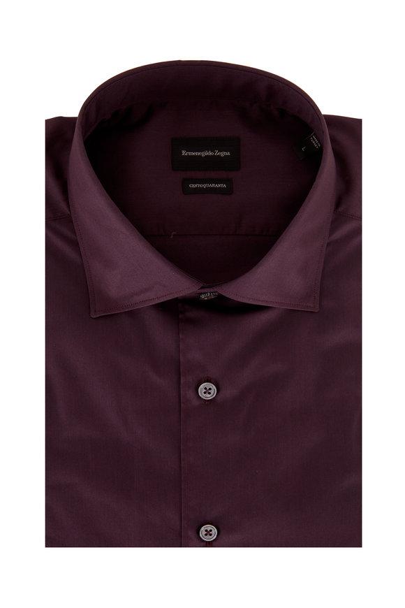 Ermenegildo Zegna Solid Bordeaux Classic Fit Sport Shirt