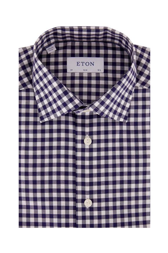 Eton Navy Blue Gingham Slim Fit Dress Shirt