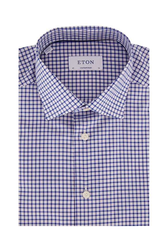Eton Royal Blue Check Contemporary Fit Dress Shirt
