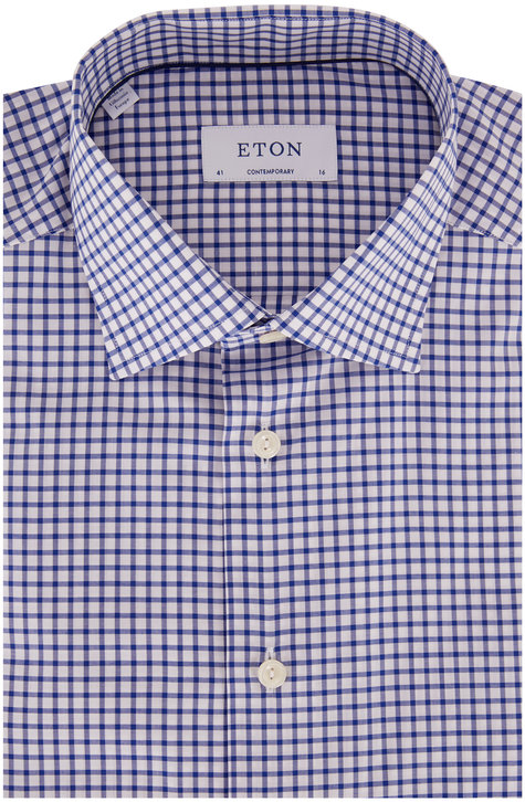 Eton Royal Blue Check Contemporary Fit Dress Shirt