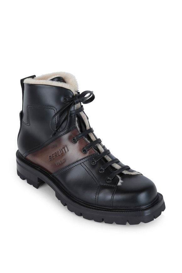 Berluti Brunico Black Glazed Leather Boot