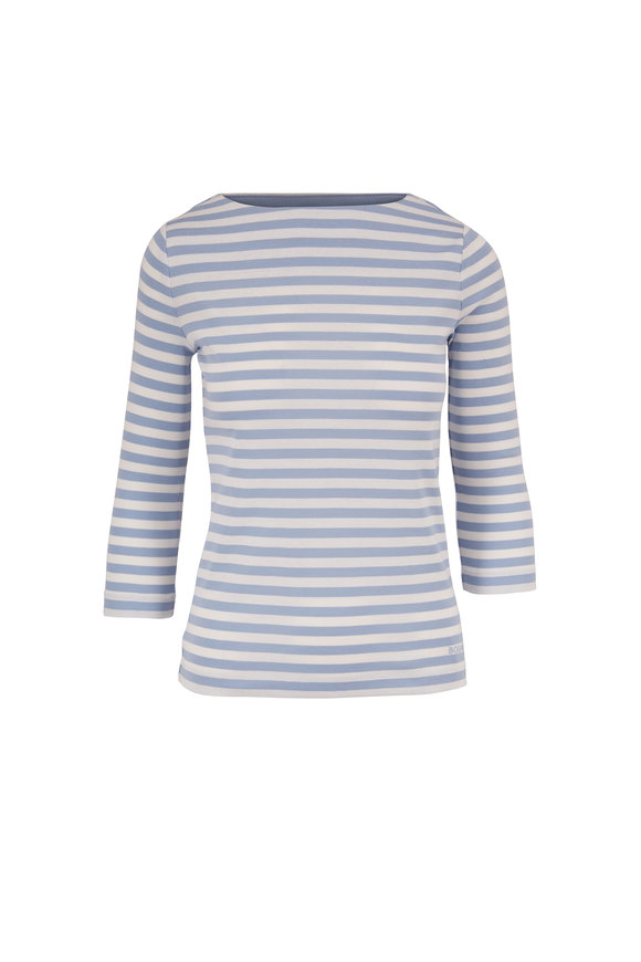 Bogner Louna Powder Blue Stripe Cotton T-Shirt