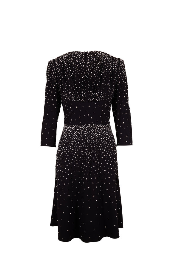 Michael Kors Collection Black Jeweled Crepe Three-Quarter Sleeve Dress