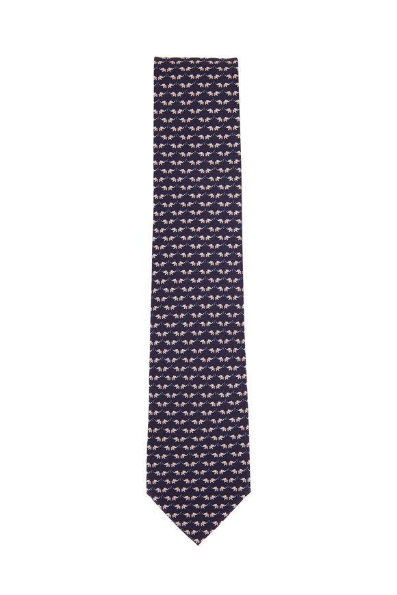 Salvatore Ferragamo Navy Elephant Pattern Silk Necktie