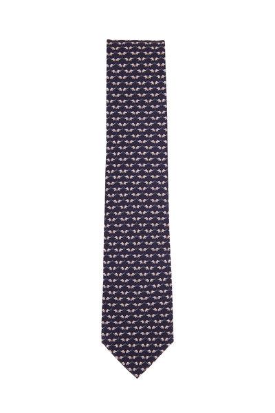 Salvatore Ferragamo - Navy Elephant Pattern Silk Necktie