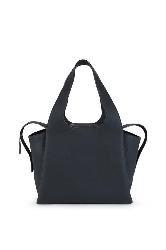 The Row TR1 Black Leather Large Shoulder Bag