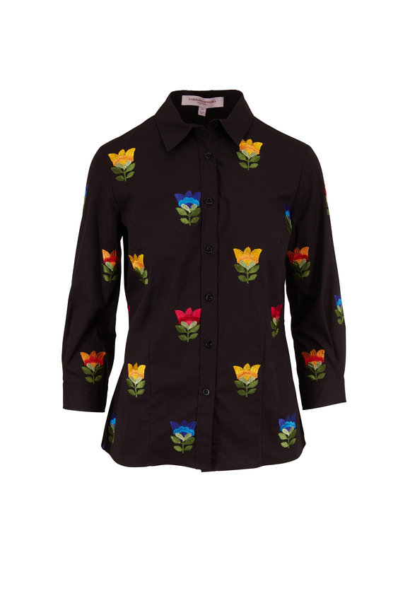 Carolina Herrera Black Multi Embroidered Button Down Shirt