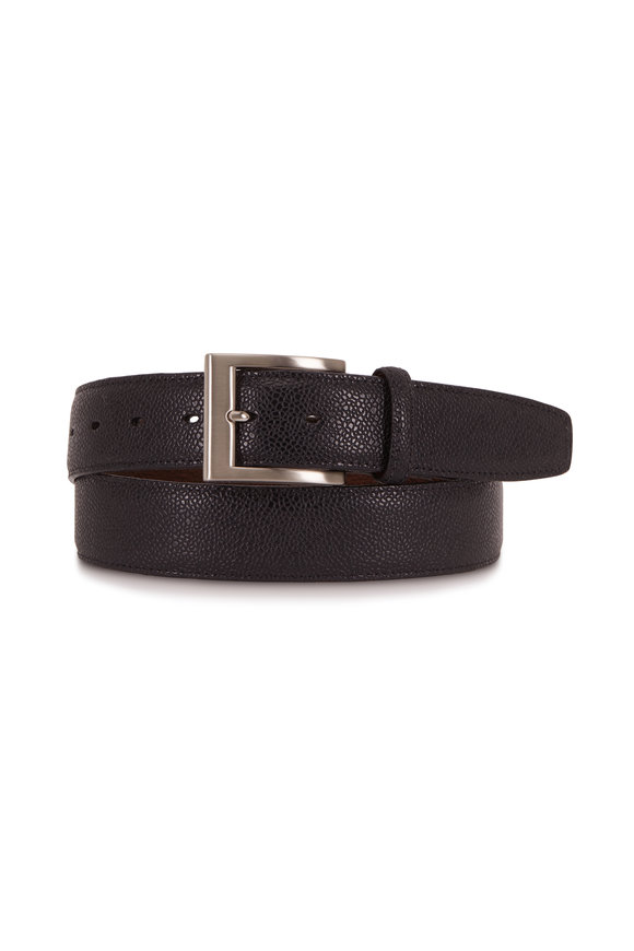 Torino Black Basketball Grained Embossed Calfskin Belt