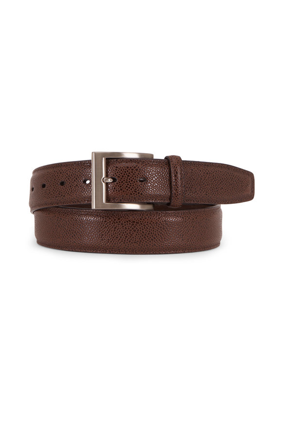 Torino Brown Basketball Grained Embossed Calfskin Belt