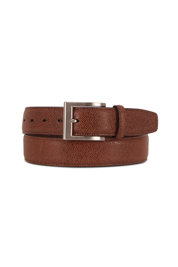 Torino Tan Basketball Grained Embossed Calfskin Belt