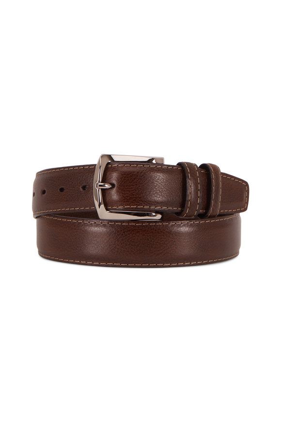 Torino Brown Contrast Stitch Italian Soft Calfskin Belt