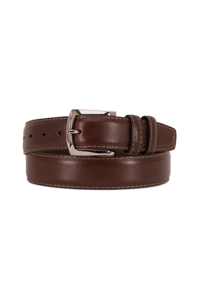 Torino - Brown Contrast Stitch Italian Soft Calfskin Belt