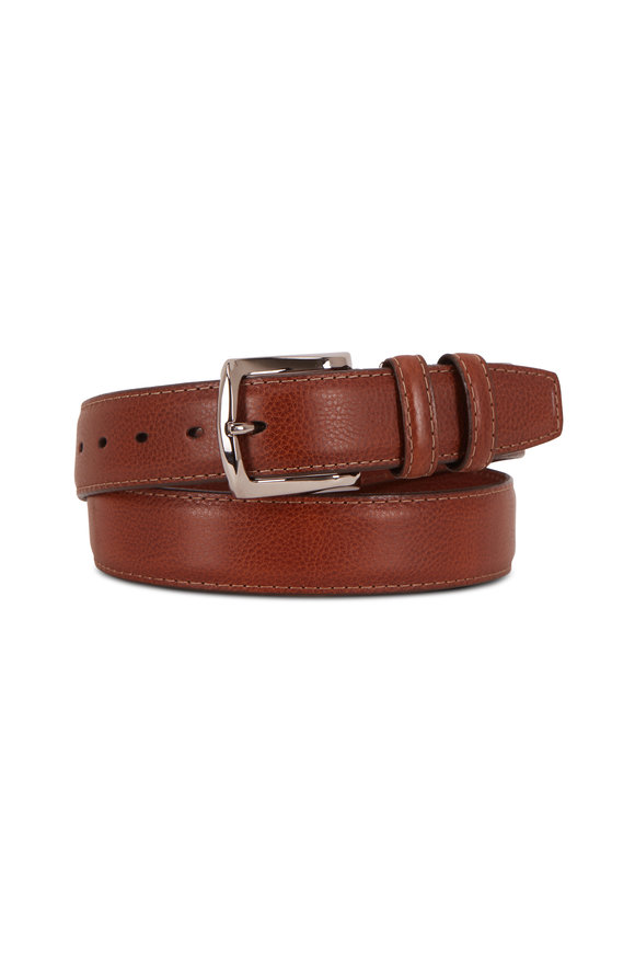 Torino Brandy Soft Calfskin Pebbled Leather Belt