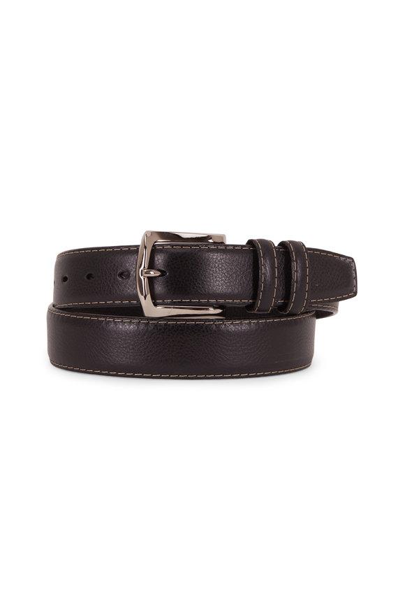Torino Black Contrast Stitch Italian Soft Calfskin Belt