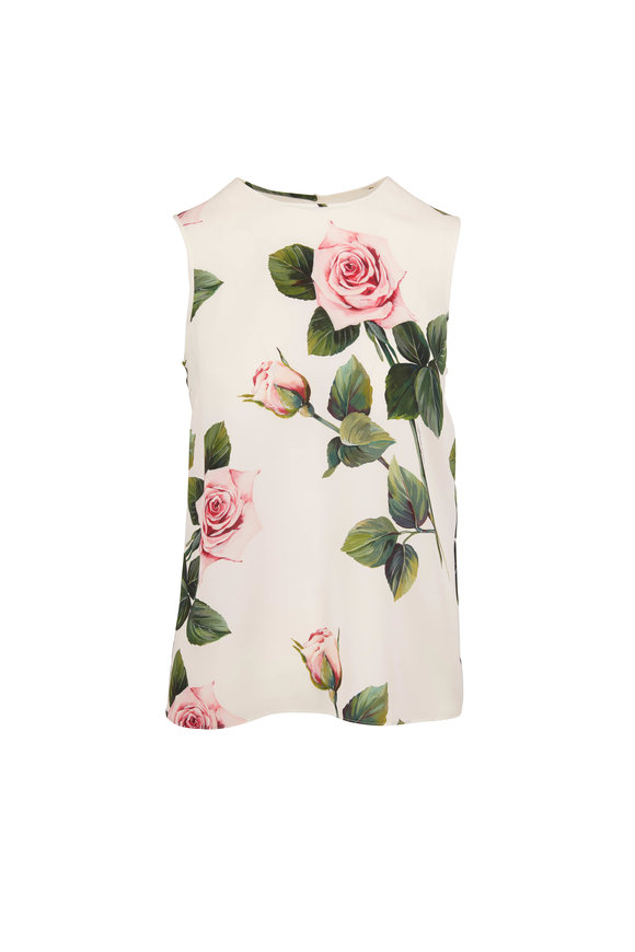 Dolce & Gabbana Ivory Stretch Silk Rose Print Sleeveless Blouse