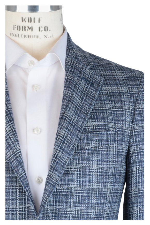 Canali Navy Blue Silk & Wool Plaid Sportcoat