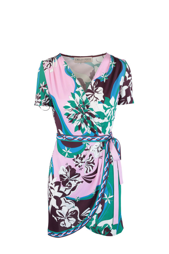 Pucci Green & Pink Floral Print Short Sleeve Wrap Dress