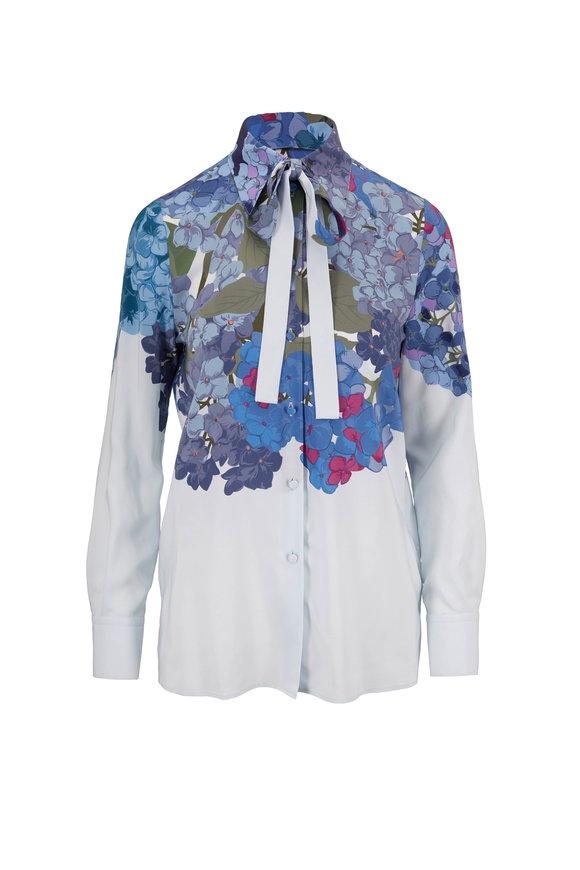Valentino Blue Crepe De Chine Floral Neck-Tie Blouse