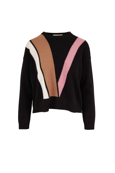 Valentino - Black Double V Logo Crewneck Sweater