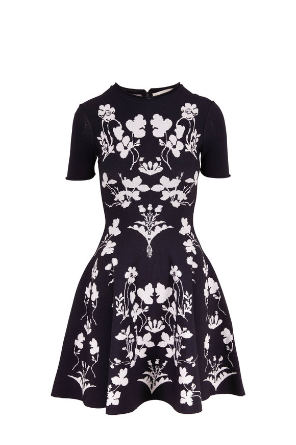 Oscar de la Renta Navy & White Floral Short Sleeve Fit & Flare Dress