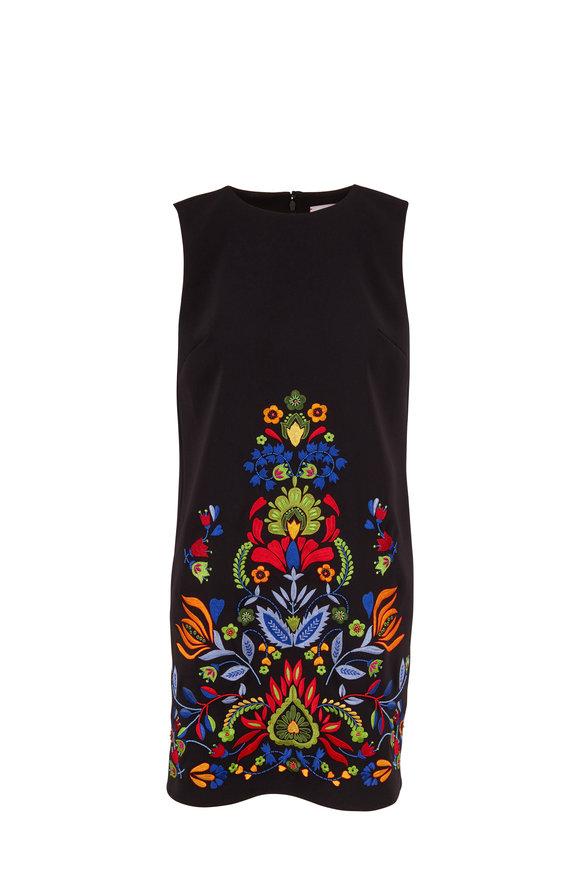 Carolina Herrera Black Multi Embroidered Sleeveless Shift Dress