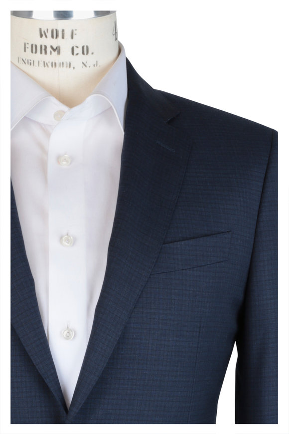 Canali Navy Blue Tonal Check Wool Suit