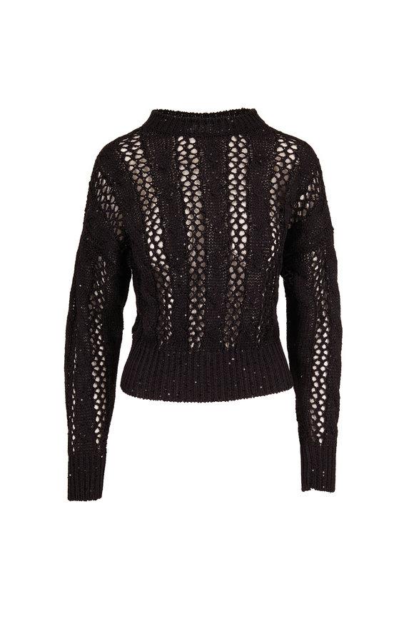 Brunello Cucinelli Black Paillette Open Weave Crewneck Sweater