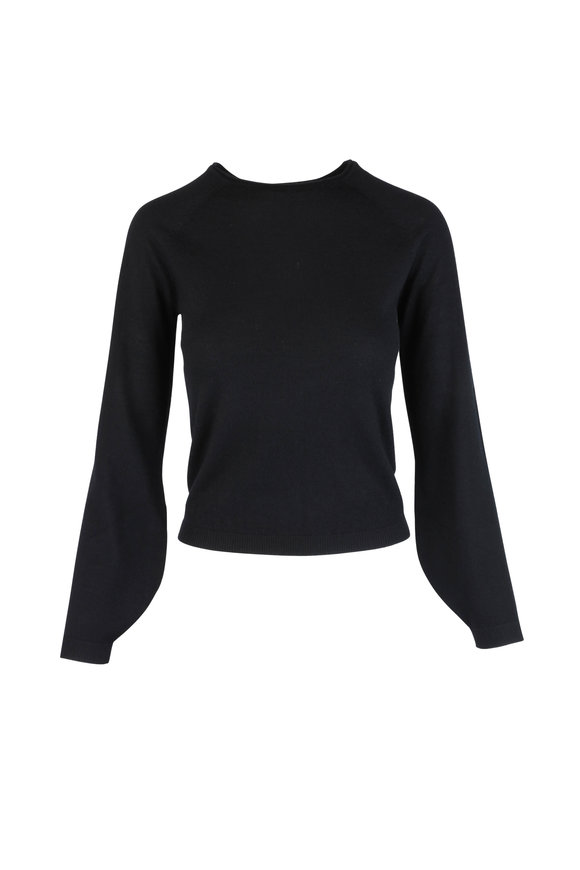CO Collection Black Cashmere Peasant Sleeve Sweater