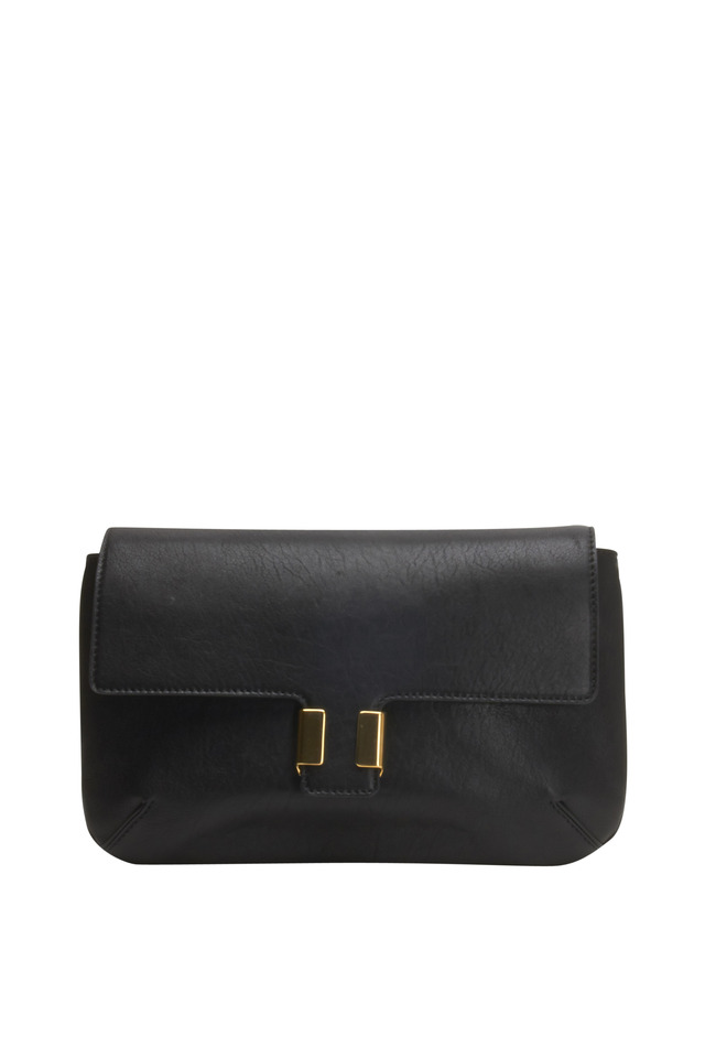 Amelia Black Leather Flap Clutch