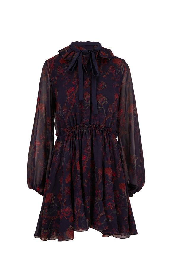 Chloé Navy Blue Silk Georgette Floral Dress