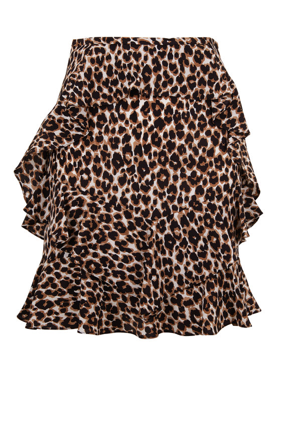 Michael Kors Collection Khaki Crepe De Chine Leopard Ruffle Skirt