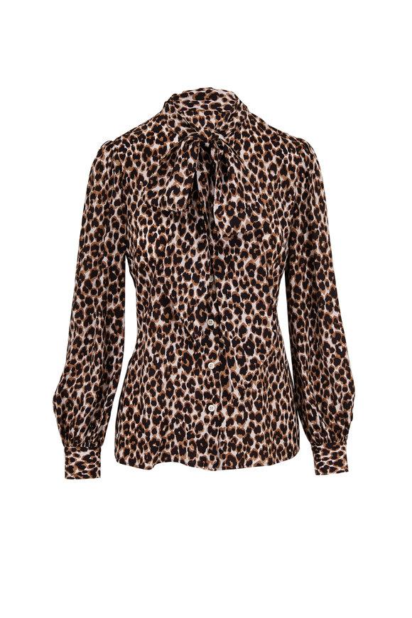 Michael Kors Collection Khaki Crepe De Chine Leopard Tie Neck Blouse