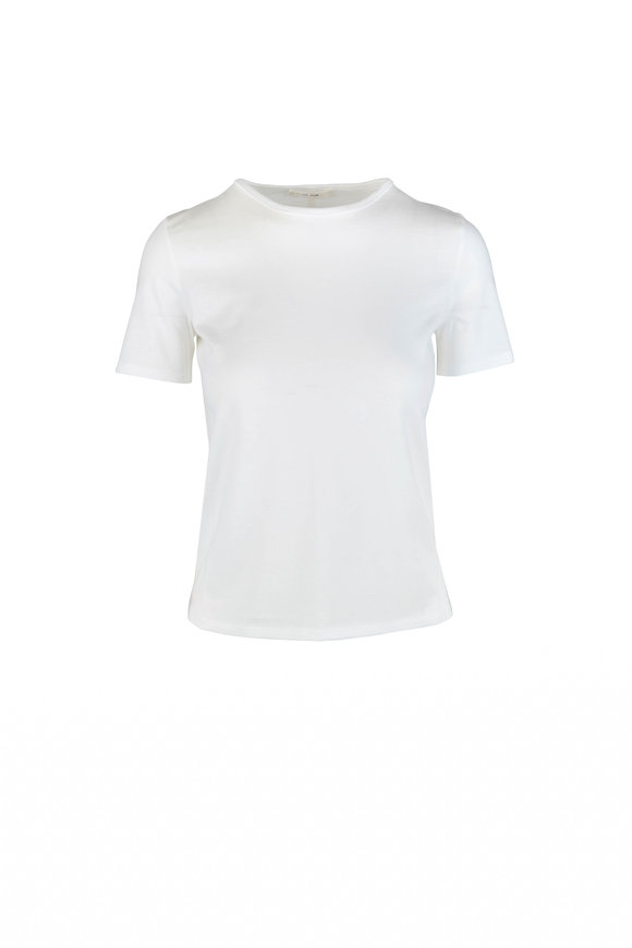 The Row Leah Ivory Fine Ribbed Stretch Cotton T-Shirt