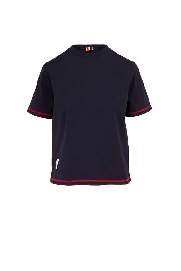 Thom Browne Navy Blue Cotton Jersey T-Shirt