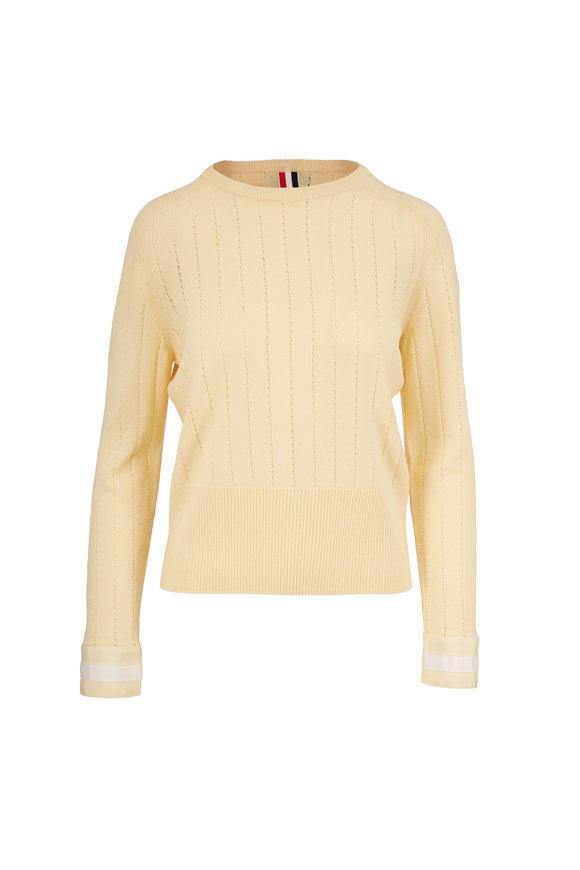 Thom Browne Yellow Pointelle Stitch Wool Sweater