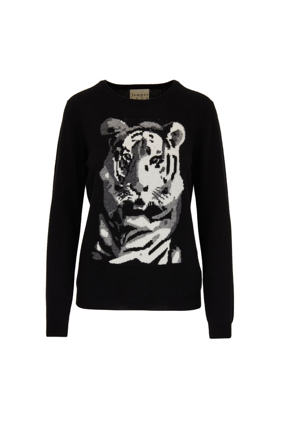 Jumper 1234 Black & White Cashmere Big Cat Jacquard Sweater