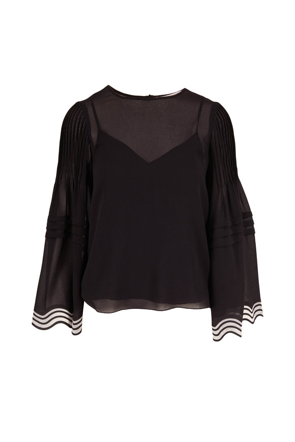 See by Chloé Black Georgette Pleated Sleeve Blouse