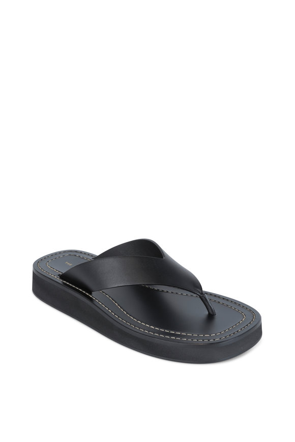 The Row Ginza Black Leather Thong Sandal
